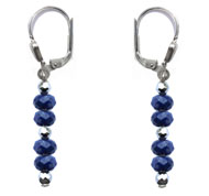 BELLASIX ® 16491-O earrings, 925 silver / lobster clasp, lapis lazuli, hematine