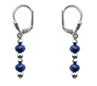 BELLASIX ® 1649-O earrings, 925 silver / lobster clasp, lapis lazuli, hematine