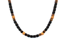 BELLASIX ® 1650-K necklace collier, 925 silver / lobster clasp, tiger eye, lava, hematine