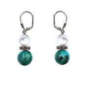 BELLASIX ® 1654-O earrings, 925 silver / lobster clasp, chrysokolla, fresh water cultivated pearl, smoky quartz, hematine