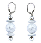 BELLASIX ® 16551-O earrings, 925 silver / lobster clasp, mountain crystal, hematine