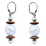 BELLASIX ® 16552-O earrings, 925 silver / lobster clasp, mountain crystal, hematine