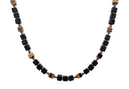 BELLASIX ® 1656-K necklace collier, 925 silver / lobster clasp, tiger eye, lava, hematine