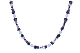 BELLASIX ® 1657-K necklace collier, 925 silver / lobster clasp, chalcedony, amethyst, lapis lazuli, hematine