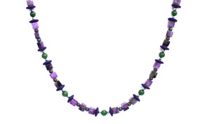 BELLASIX ® 1658-K necklace collier, 925 silver / lobster clasp, jade, amethyst, hematine