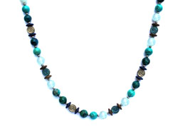 BELLASIX ® 1659-K necklace collier, 925 silver / lobster clasp, aquamarine, turquoise, chrysokolla, hematine