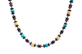 BELLASIX ® 1660-K necklace collier, 925 silver / lobster clasp, turquoise, smoky quartz, lava, hematine