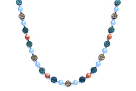 BELLASIX ® 1661-K necklace collier, 925 silver / lobster clasp, chalcedony, sunstone, hematine