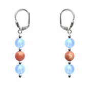 BELLASIX ® 1661-O earrings, 925 silver / lobster clasp, chalcedony, sunstone, hematine