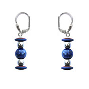 BELLASIX ® 16621-O earrings, 925 silver / lobster clasp, lapis lazuli, hematine
