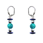 BELLASIX ® 16622-O earrings, 925 silver / lobster clasp, turquoise, hematine