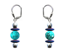 BELLASIX ® 16623-O earrings, 925 silver / lobster clasp, turquoise, hematine