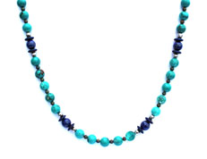 BELLASIX ® 1662-K necklace collier, 925 silver / lobster clasp, turquoise, lapis lazuli, hematine