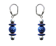 BELLASIX ® 1662-O earrings, 925 silver / lobster clasp, lapis lazuli, hematine