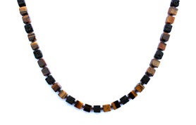 BELLASIX ® 1663-K necklace collier, 925 silver / lobster clasp, tiger eye, lava, hematine