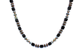BELLASIX ® 1664-K necklace collier, 925 silver / lobster clasp, labradorite, lava, hematine
