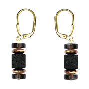 BELLASIX ® 16652-O earrings, 925 silver / lobster clasp, lava, smoky quartz, hematine