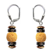 BELLASIX ® 16657-O earrings, 925 silver / lobster clasp, lava, smoky quartz, hematine