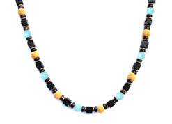 BELLASIX ® 1665-K necklace collier, 925 silver / lobster clasp, aquamarine, smoky quartz, lava, hematine