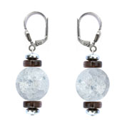 BELLASIX ® 1666-O earrings, 925 silver / lobster clasp, mountain crystal, smoky quartz, lava, hematine