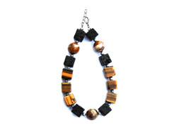 BELLASIX ® 1667-A bracelet, 925 silver / lobster clasp, tiger eye, tiger iron, lava, hematine