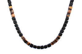 BELLASIX ® 1668-K necklace collier, 925 silver / lobster clasp, tiger eye, lava, hematine