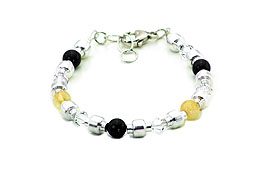 SWAROVSKI (R) crystals in combination with: BELLASIX (R) 1711-A bracelet citrine (yellow quartz) black onyx 925 silver clasp