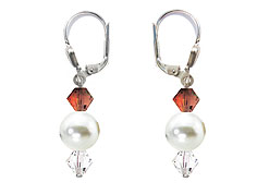 SWAROVSKI (R) crystals in combination with: BELLASIX (R) 1713-O earrings brown black gold-coloured mussel-stone-pearl 925 silver clasp