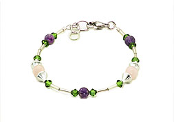 SWAROVSKI (R) crystals in combination with: BELLASIX (R) 1714-A bracelet amethyst, rose quartz 925 silver clasp