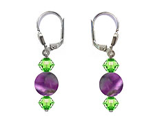 SWAROVSKI (R) crystals in combination with: BELLASIX (R) 1714-O earrings amethyst 925 silver clasp