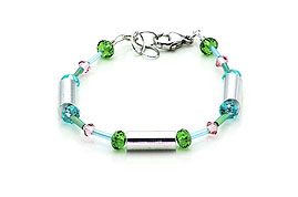 SWAROVSKI (R) crystals in combination with: BELLASIX (R) 1717-A bracelet green blue rose 925 silver clasp
