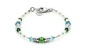 SWAROVSKI (R) crystals in combination with: BELLASIX (R) 1718-A  bracelet blue green 925 silver clasp