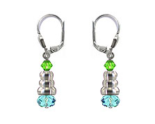 SWAROVSKI (R) crystals in combination with: BELLASIX (R) 1718-O1 earrings blue green 925 silver clasp