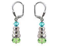 SWAROVSKI (R) crystals in combination with: BELLASIX (R) 1718-O2 earrings blue green 925 silver clasp