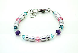 SWAROVSKI (R) crystals in combination with: BELLASIX (R) 1726-A bracelet amethyst (purple-coloured) rose 925 silver clasp