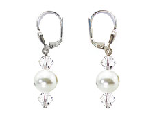 SWAROVSKI (R) crystals in combination with: BELLASIX (R) 1727-O earrings wedding jewellery mussel-stone-pearl 925 silver clasp