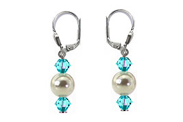 SWAROVSKI (R) crystals in combination with: BELLASIX (R) 1728-O earrings wedding jewellery mussel-stone-pearl 925 silver clasp