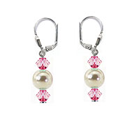 SWAROVSKI (R) crystals in combination with: BELLASIX (R) 1729-O earrings wedding jewellery mussel-stone-pearl 925 silver clasp