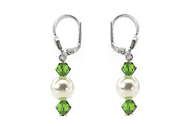 SWAROVSKI (R) crystals in combination with: BELLASIX (R) 1730-O earrings wedding jewellery mussel-stone-pearl 925 silver clasp