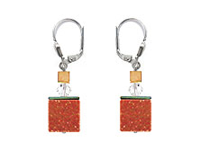 SWAROVSKI (R) crystals in combination with: BELLASIX (R) 1763-O1 earrings cube in goldstone 925 silver clasp