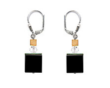 SWAROVSKI (R) crystals in combination with: BELLASIX (R) 1763-O2 earrings cube in onyx 925 silver clasp