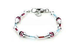 SWAROVSKI (R) crystals in combination with: BELLASIX (R) 1765-A bracelet rose blue 925 silver clasp