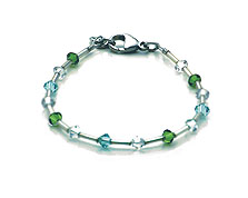 SWAROVSKI (R) crystals in combination with: BELLASIX (R) 1771-A bracelet green blue 925 silver clasp