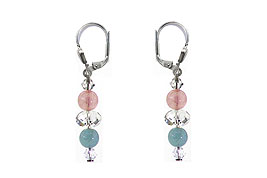 SWAROVSKI (R) crystals in combination with: BELLASIX (R) 1776-O1 earrings aquamarine, rose quartz 925 silver clasp