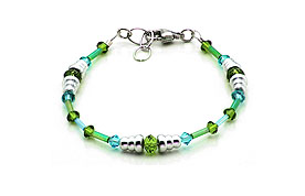 SWAROVSKI (R) crystals in combination with: BELLASIX (R) 1795-A bracelet green blue 925 silver clasp