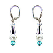 SWAROVSKI (R) crystals in combination with: BELLASIX (R) 1808-O3 earrings blue 925 silver clasp mussel-stone-pearl wedding jewellery