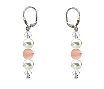 SWAROVSKI (R) crystals in combination with: BELLASIX (R) 1809-O1 earrings rose quartz (rose-coloured) mussel-stone-pearl 925 silver clasp