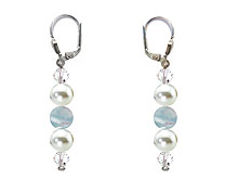 SWAROVSKI (R) crystals in combination with: BELLASIX (R) 1809-O2 earrings aquamarine (ligtht-blue) mussel-stone-pearl 925 silver clasp