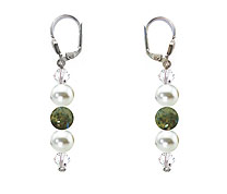 SWAROVSKI (R) crystals in combination with: BELLASIX (R) 1809-O3 earrings labradorite mussel-stone-pearl 925 silver clasp
