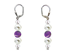 SWAROVSKI (R) crystals in combination with: BELLASIX (R) 1809-O4 earrings amethyst (purple-coloured) mussel-stone-pearl 925 silver clasp